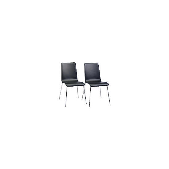 Milano Pair of Leather Dining Chairs, Black