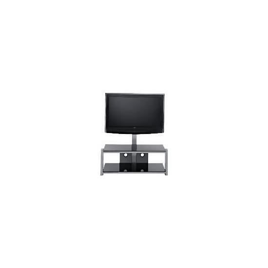 Glass 2 Shelf TV Unit Black