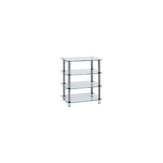 Glass & Steel 4 Shelf Hi-Fi Unit