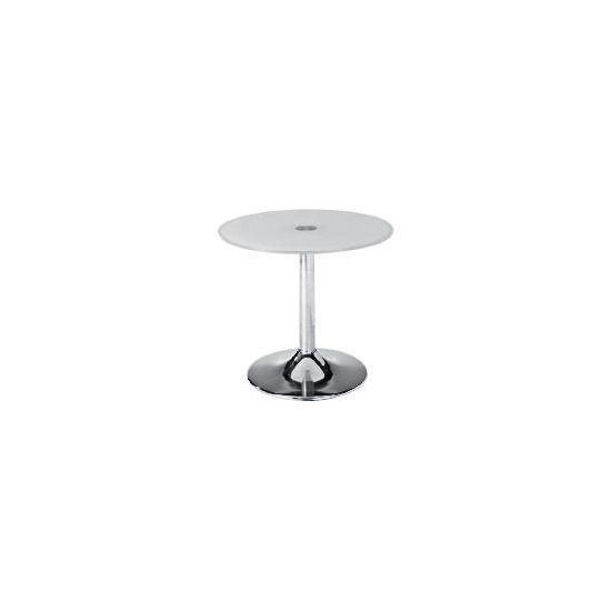 Novara Glass & Metal Side Table, White