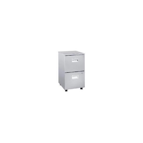 Reno 2 drawer Filing cabinet, Silver effect