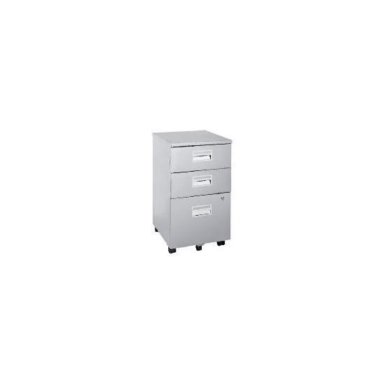 Reno 3 drawer Filing cabinet, Silver Effect