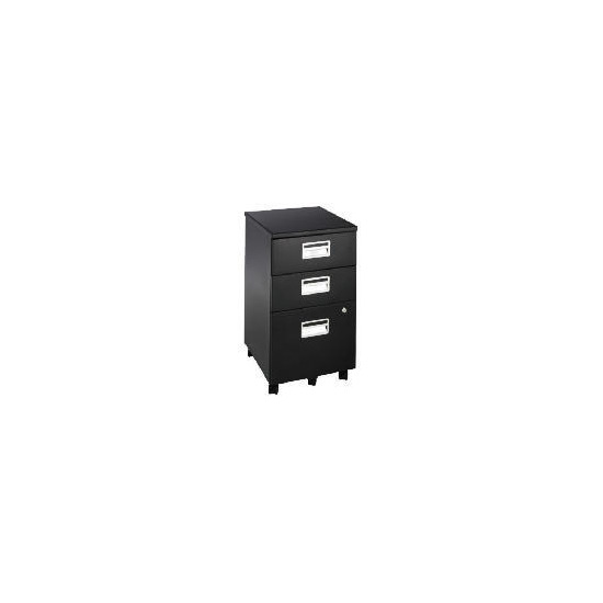 Reno 3 drawer Filing cabinet, Black