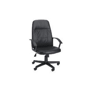 Photo of Hamburg Hi-Back Leather Faced Managers Office Chair, Black Office Furniture