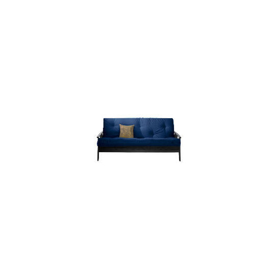 Java Dark Wooden Futon,Blue
