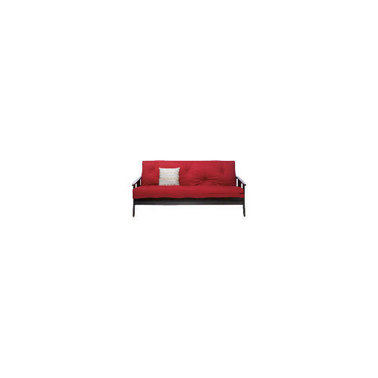 Java Dark Wooden Futon,Red