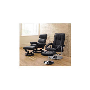 Photo of Oxford Leather Recliner Chair & Footstool, Black Furniture