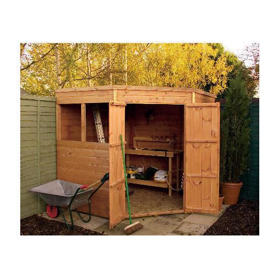 Walton 7' x 7'  Wooden Shiplap Corner Pent Shed
