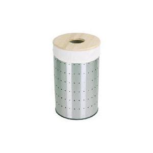 Photo of Tesco 60L Stainless Steel Laundry Bin Wooden Lid Bin