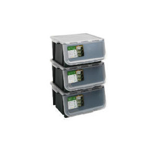 Photo of Tesco 3 Pack Recycling Crates With 3 Lids Stackable Household Storage