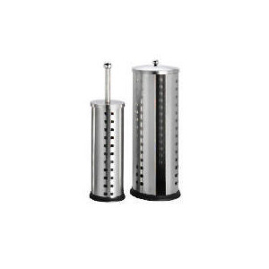 Photo of Tesco Stainless Steel Toilet Roll Holder & Brush Set Cut Out Squares Bathroom Fitting