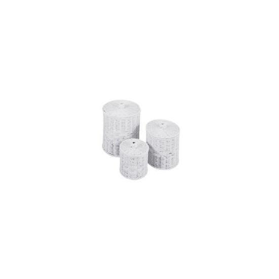 Rattan Round Storage Basket White Set of 3