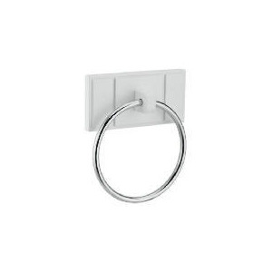 Photo of White Wood Wall Mounted Towel Ring Bathroom Fitting