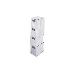 Photo of Rattan 4 Draw Storage Tower White Home Miscellaneou