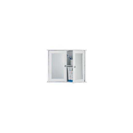 White Wood Double Door Bathroom Cabinet