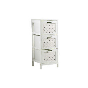 Photo of White Wood 3 Draw Tower Cabinet Household Storage