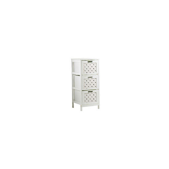 White Wood 3 Draw Tower Cabinet