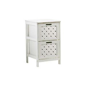 Photo of White Wood 2 Draw Tower Cabinet Household Storage