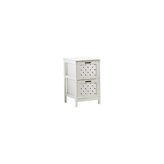 White Wood 2 Draw Tower Cabinet
