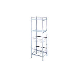 Photo of Chrome Storage Tower With 2 Baskets & 2 Frosted Glass Shelves Household Storage