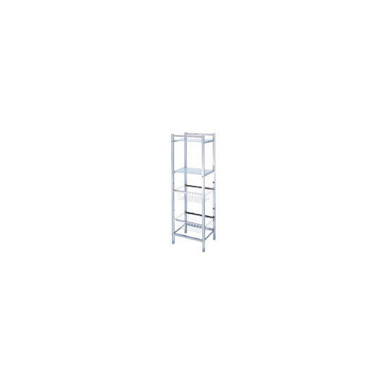 Chrome Storage Tower with 2 Baskets & 2 Frosted Glass Shelves