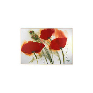 Photo of Red Poppies In The Wind Block Framed Print Home Miscellaneou