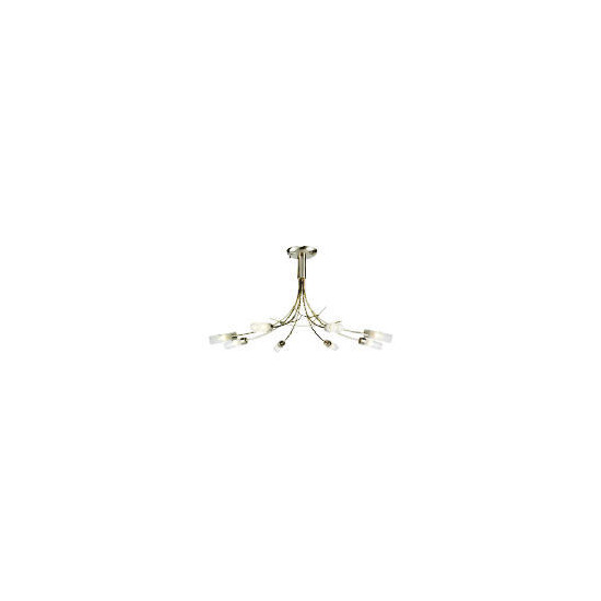 Bamboo 8 light ceiling fitting, Satin nickel