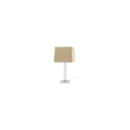 Block Table Lamp, Silk effect shade