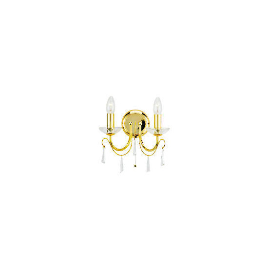 Strathmore 2 light light wall fitting, Brass