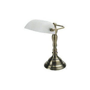 Photo of Alabaster & Antique Brass Effect Desk Lamp Lighting