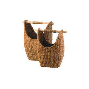 Photo of Seagrass Round Baskets With Wooden Handles Household Storage