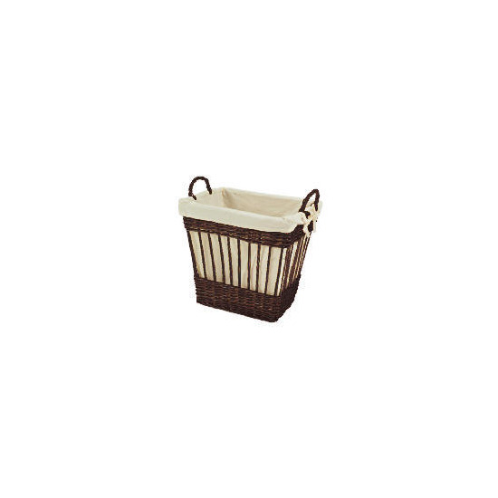 Wicker lined basket chocolate brown
