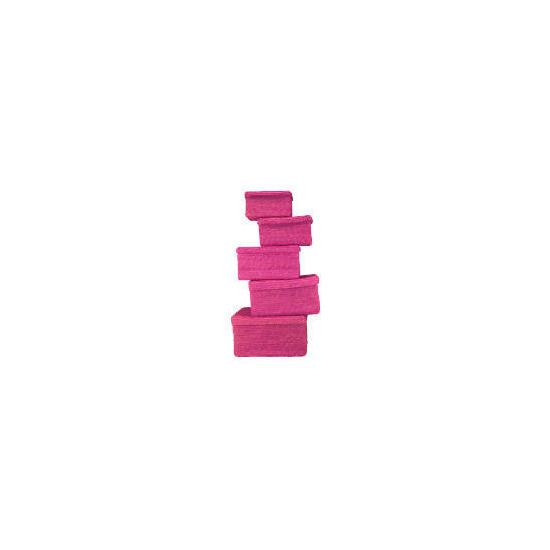 Coloured lidded baskets pink set of 5