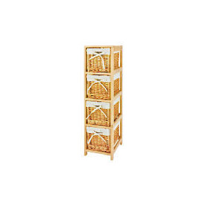 Photo of Wicker & Wood 4 Drawer Unit Household Storage
