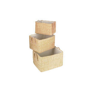 Photo of Rush Lined Baskets With Handles 3 Pack Household Storage