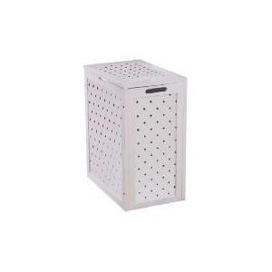 Photo of White Wood Wicker Weave Laundry Basket Household Storage
