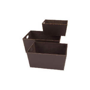 Photo of Faux Leather Storage Baskets Set Of 3 Household Storage