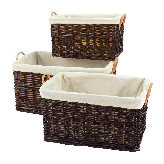 Wicker baskets 3 pack chocolate brown