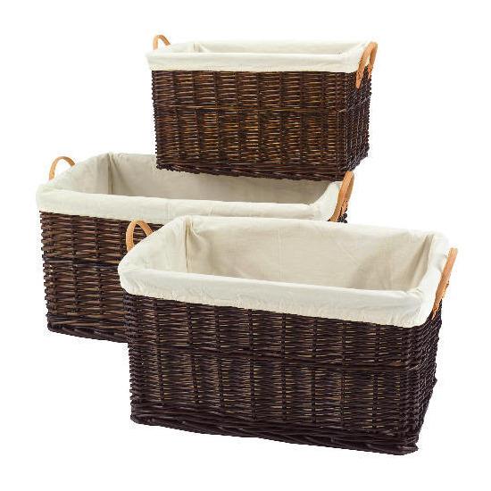 Wicker baskets 3 pack chocolate brown