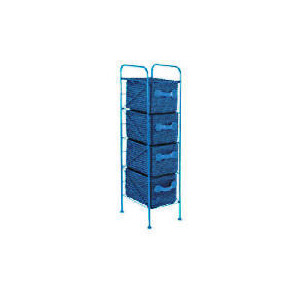 Photo of 4 Drawer Storage Tower Blue Household Storage