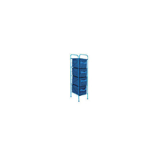 4 Drawer storage tower blue