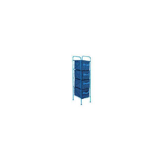 4 Drawer storage tower blue