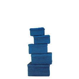 Coloured lidded baskets blue set of 5 Reviews