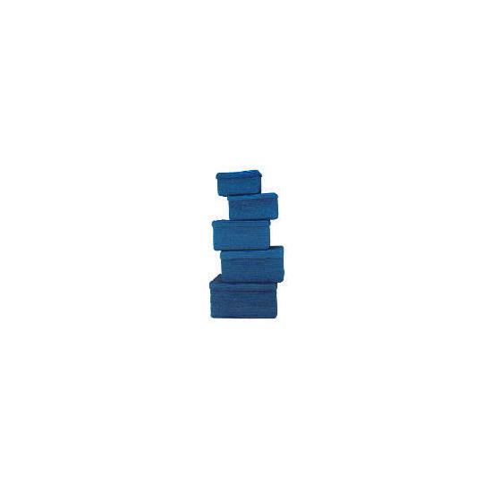 Coloured lidded baskets blue set of 5
