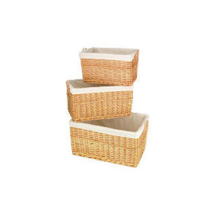 Photo of Wicker Baskets 3 Pack Light Brown Household Storage