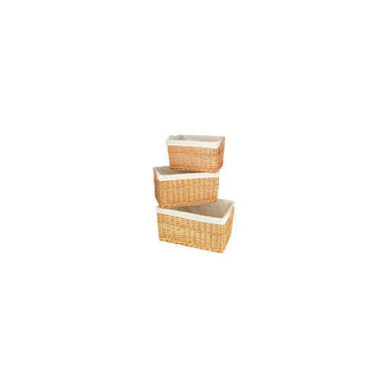 Wicker baskets 3 pack light brown