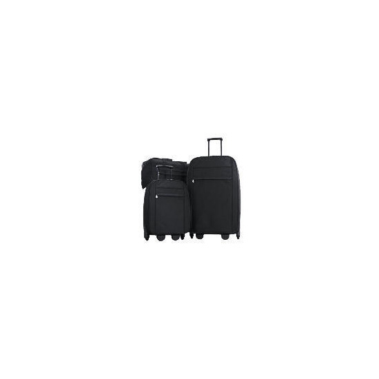 Classic 3 Piece Set Black , Large Trolley, Small Trolley And Overnight Holdall