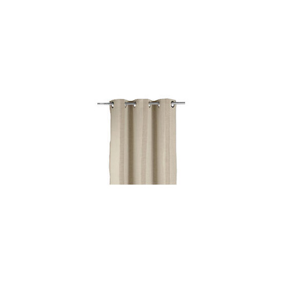 Linen Mix Stripe Lined Eyelet Curtainss, Natural 163x183cm