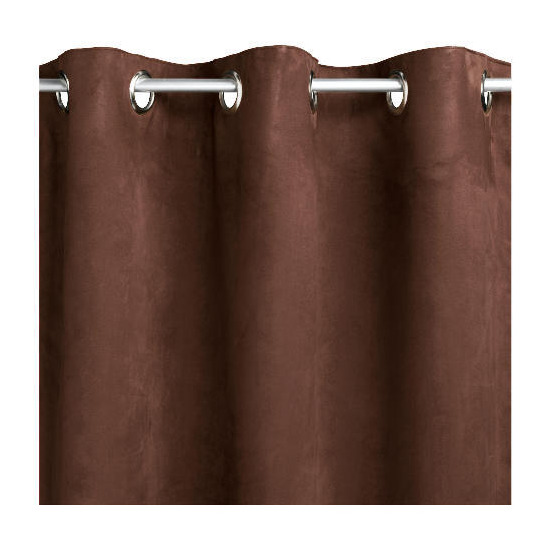Tesco Faux Suede Unlined Eyelet Curtains, Chocolate 117x183cm