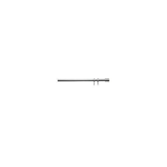Bay Window Pole Stainless Steel Effect Striped Barrel Finial
